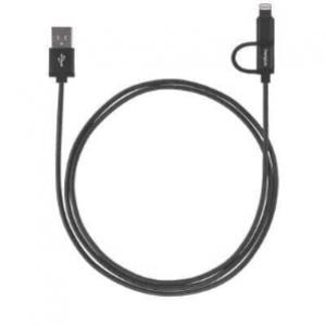 Targus Accessories ALU Series 2-in-1 (Lightning & Micro USB) Cable (1.2M) - Black