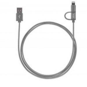 Targus Accessories Aluminium Series 2-in-1 Lightning Cable (Space Gray)